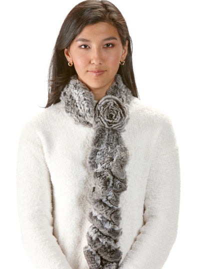 Denise Natural Chinchilla Knitted Scarf - The Fur Store