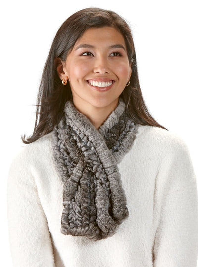 Donna Chinchilla Knitted Scarf - The Fur Store