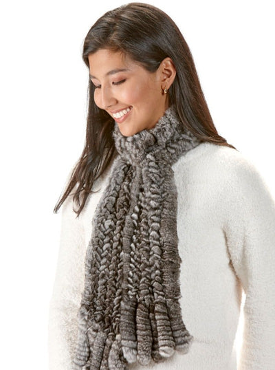 Ellie Knitted Chinchilla Scarf with Fringes - The Fur Store