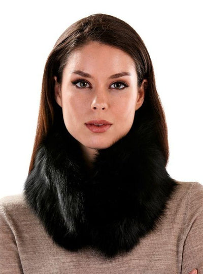 Kaia Black Fox Fur Neck Warmer - The Fur Store