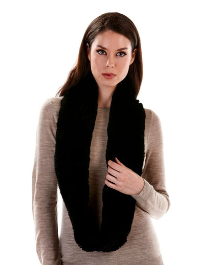 Remi Black Knitted Rex Rabbit Infinity Scarf - The Fur Store
