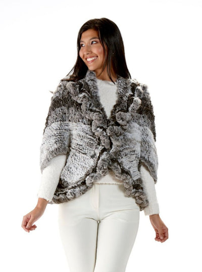 Eleanora Chinchilla Knitted Fur Capelet - The Fur Store