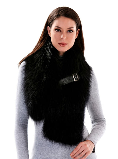 Arden Black Raccoon Scarf - The Fur Store