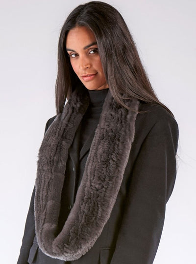 Remi Dark Grey Knitted Rex Rabbit Infinity Scarf - The Fur Store