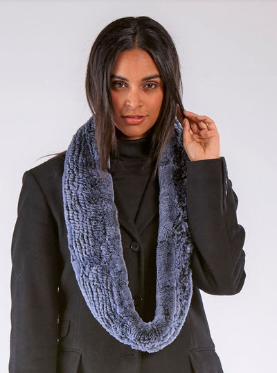 Remi Blue Knitted Rex Rabbit Infinity Scarf - The Fur Store