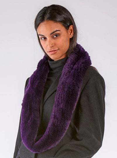 Remi Purple Knitted Rex Rabbit Infinity Scarf - The Fur Store