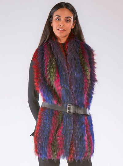 Regina Multi Color Raccoon Scarf - The Fur Store