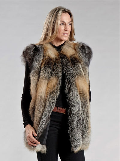 Liana Natural Cross Fox Vest - The Fur Store