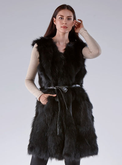 Cynthia Black Fox Vest - The Fur Store