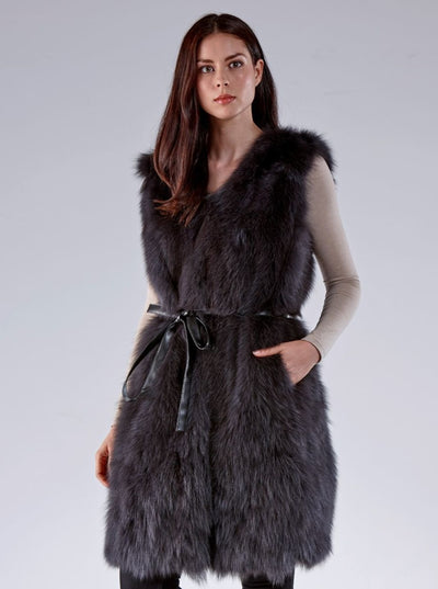 Cynthia Grey Fox Vest - The Fur Store