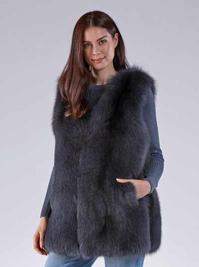 Marissa Grey Fox Vest - The Fur Store