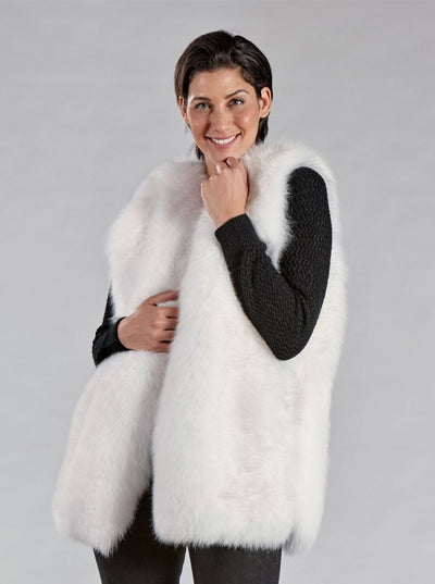 Marissa White Fox Vest - The Fur Store