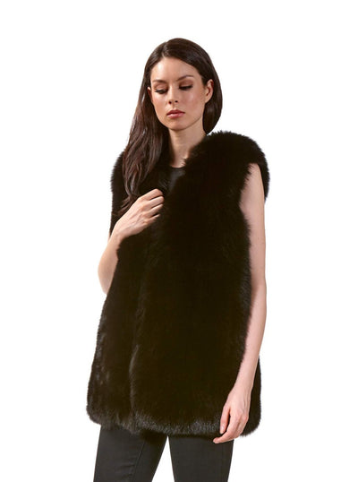 Marissa Dark Brown Fox Vest - The Fur Store