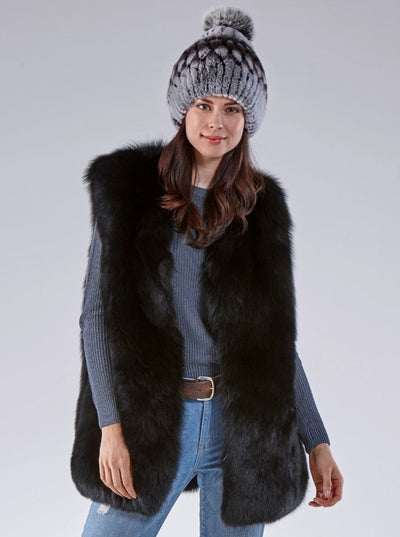Marissa Black Fox Vest - The Fur Store