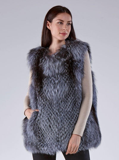 Monica Natural Silver Fox Vest - The Fur Store