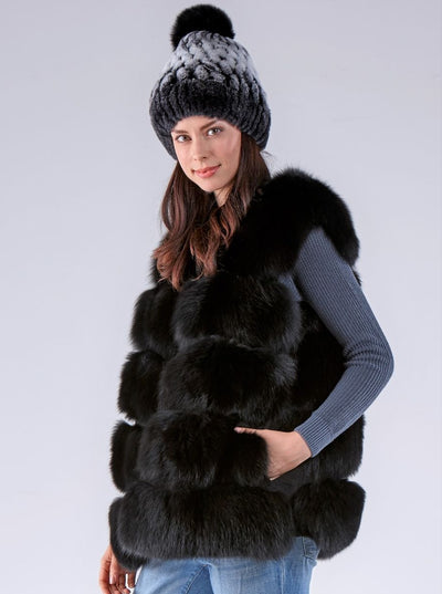 Hallie Black Fox Vest - The Fur Store