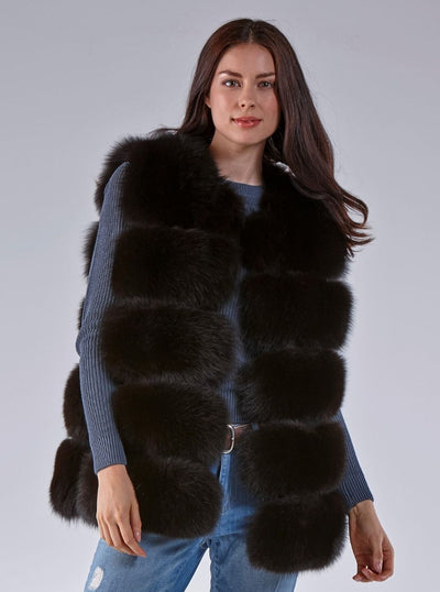 Hallie Dark Brown Fox Vest - The Fur Store