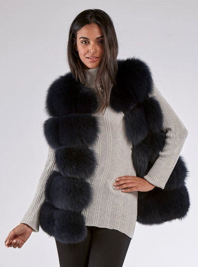 Hallie Navy Blue Fox Vest - The Fur Store