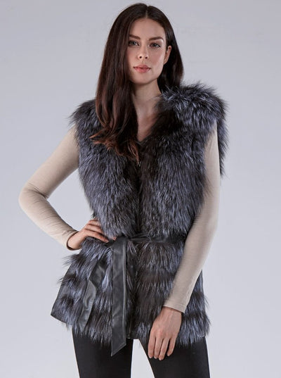 Savannah Silver Fox Vest with Leather - The Fur Store