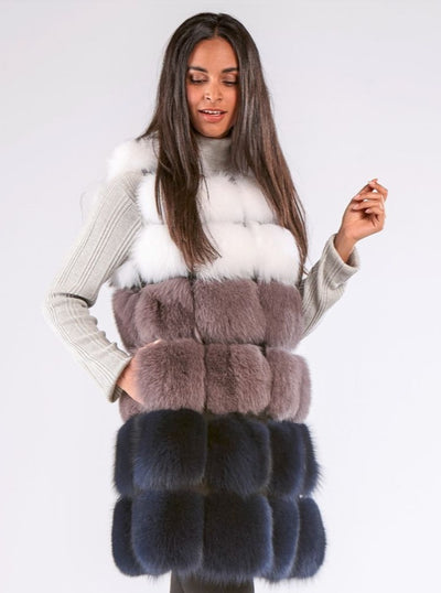 Demi Multi Color Fox Vest - The Fur Store