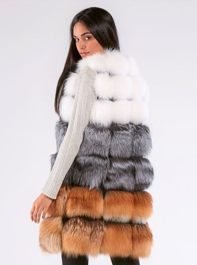 Belle Natural Multi Color Fox Vest - The Fur Store