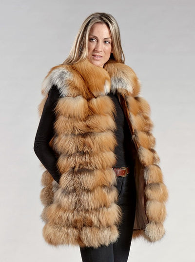 Blair Red Fox Vest - The Fur Store