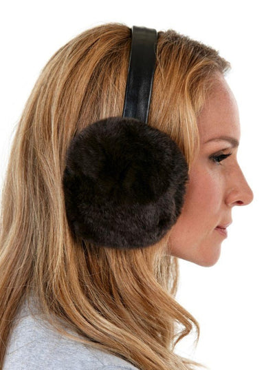 Natalie Brown Rex Rabbit Earmuffs - The Fur Store