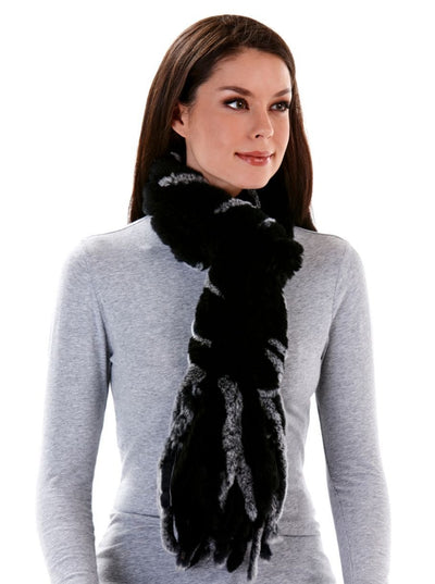 Ava Knitted Rex Rabbit Scarf with Fringes - 6 Colors - The Fur Store