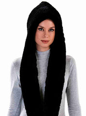 Fiore Black Knitted Rex Rabbit Infinity Hood and Scarf