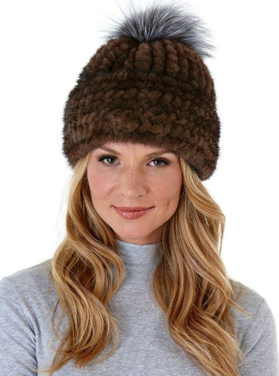 Arianne Brown Knitted Mink Hat with Fox Pom Pom - The Fur Store