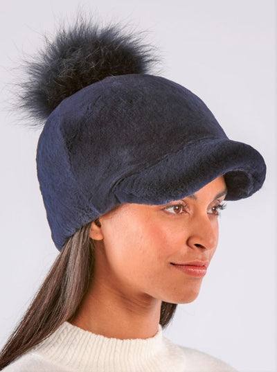 Anna Navy Rex Rabbit Hat Raccoon Pom Pom - The Fur Store