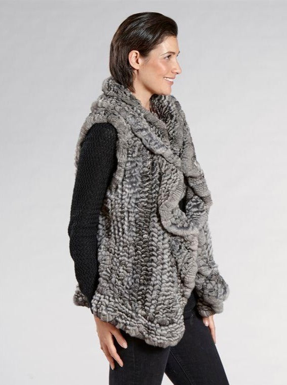 Claudia Natural Knitted Chinchilla Vest - The Fur Store