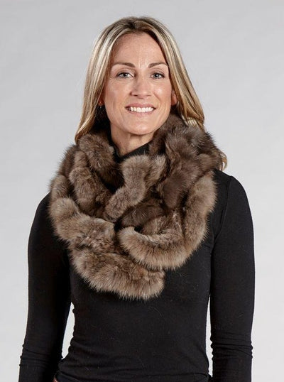 Rachel Knitted Sable Infinity Scarf - The Fur Store