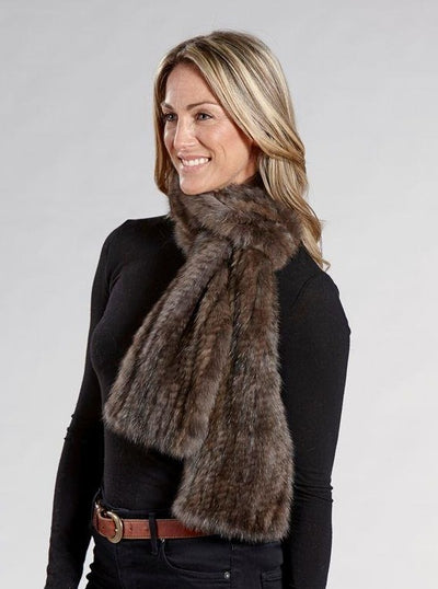 Penny Brown Knitted Sable Fur Scarf - The Fur Store