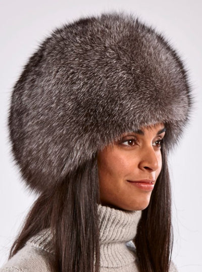 Sofia Russian Indigo Fox Hat - The Fur Store