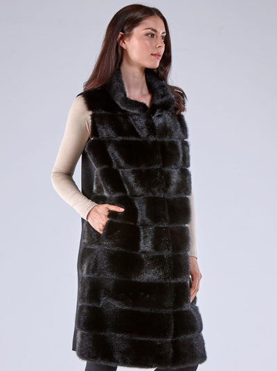 Julianna Black Mink Vest with Black Wool - The Fur Store