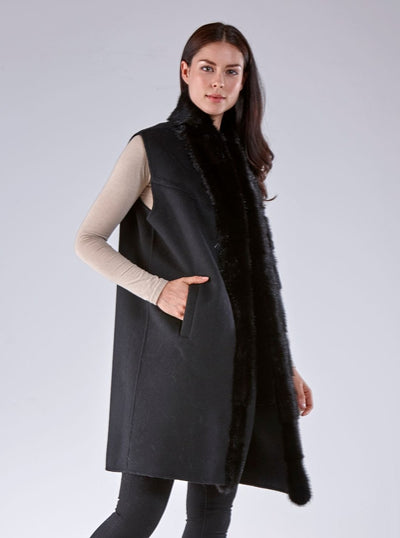 Libby Black Mink Vest with Black Wool - The Fur Store
