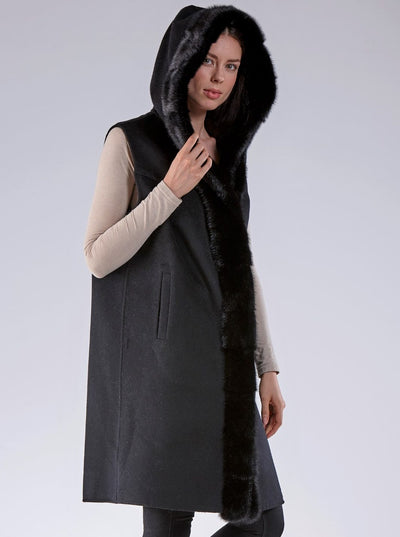 Olivia Black Mink Hooded Vest with Black Wool - The Fur Store