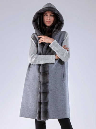 Olivia Grey Mink Hooded Vest with Grey Wool - The Fur Store