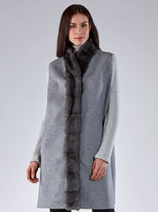 Libby Grey Mink Vest with Grey Wool