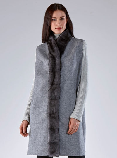 Libby Grey Mink Vest with Grey Wool - The Fur Store
