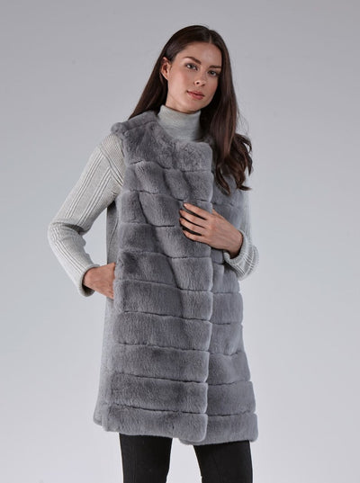 Athena Grey Rex Rabbit Vest - The Fur Store