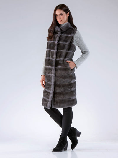 Julianna Grey Mink Vest with Grey Wool - The Fur Store