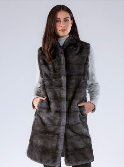 Sienna Grey Mink Vest with Grey Wool - The Fur Store