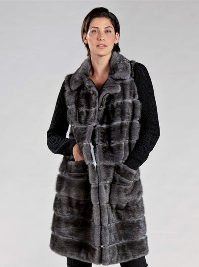 Nika Grey Mink Vest with Grey Wool - The Fur Store