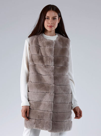 Athena Beige Rex Rabbit Vest - The Fur Store