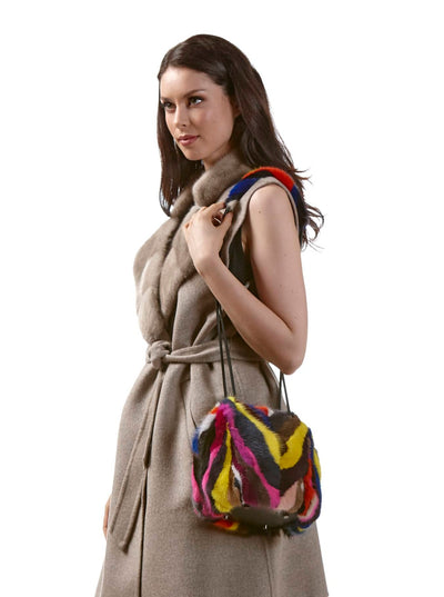 Elaine Multi Color Mink Purse - The Fur Store
