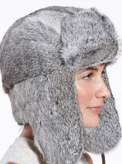 Jackson Women's Grey Rabbit Trapper Hat - The Fur Store