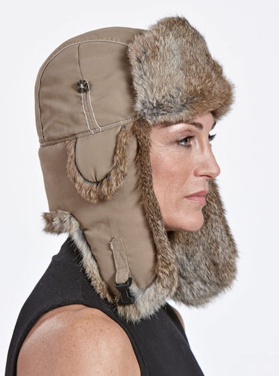 Jonathan Women's Beige Rabbit Trapper Hat - The Fur Store