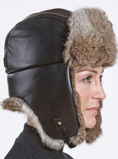 Owen Women's Brown Rabbit Trapper Hat with Leather - The Fur Store